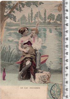 Старинная открытка. До 1945 годa. Фэнтези, пара мужчина женщина.