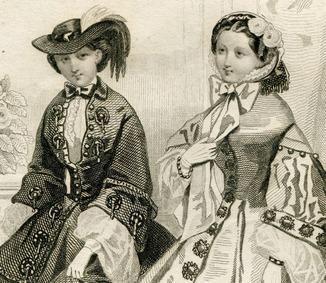 Гравюра. 1859. Моды Парижа. 29х20см