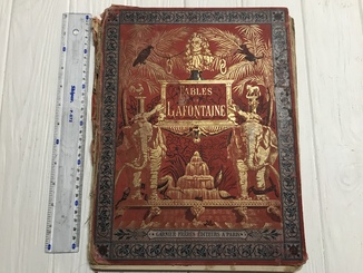 1892 Басни Лафонтена Красивая книга с хромолитографиями