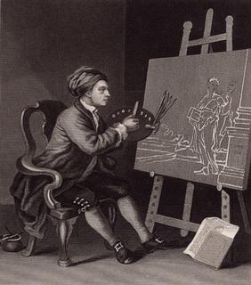 Старинная гравюра. 1870 годa. Хогарт. (26,5х21см.).