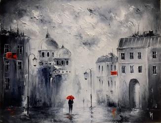 Двое и дождь. И.Мовчан. 45х35 см