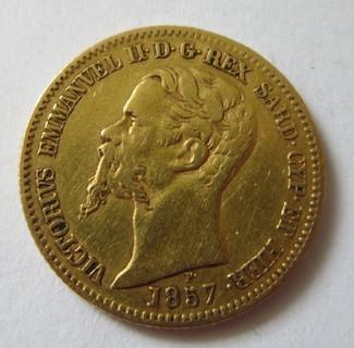 20 лир Сардиния 1857 года.