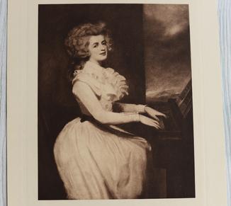 Антикварная гравюра портрет Mrs. Raikes George Romney