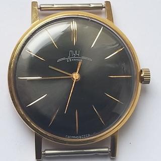 Часы Луч плоские 23 камня (черный циферблат).позолота Au20