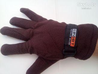 Перчатки утепленные спорт с липучкой коричневые
