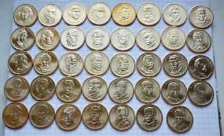 Полный набор долларов США серия ''Президенты'' - 39 шт