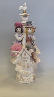 Пастушка и трубочист, автор Щербина, роспись Антропова