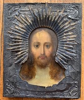 Икона серебро 1842 год - Спас Нерукотворный