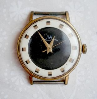 """Часы """"Луч"""" биколор позолота с 23 камнями, позолоченные, родной ремешок"""