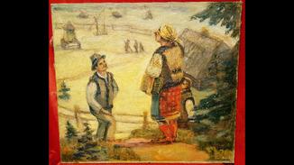 """""""Розмова"""",Цыганкова Е.И.,1965 г.44,5×40,5 см."""