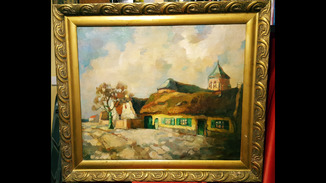 """""""Пейзаж с домом и кирхой"""",19-нач.20 века,73×89 см."""
