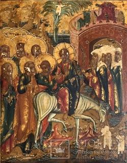 Икона Вход Господень в Иерусалим. Палех ХІХ век
