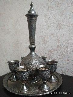 Серебряный арабский коньячный сервиз.Вес-1065 гр.900 проба.