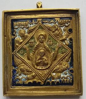 Икона Богоматерь Знамение 19 век. Эмаль