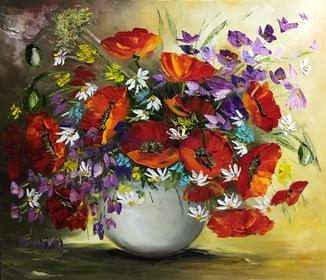 Картина «Букет полевых цветов» масло мастихин 60х70