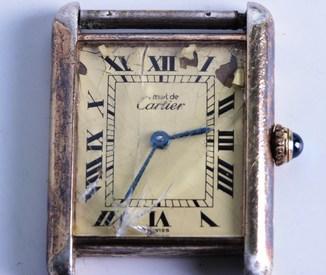 Часы Сartier Tank Швейцария серебро 925 пр. позолота