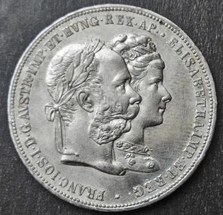 """2 Гульдена 1879 г Австро-Венгрия. """"Годовщина серебряной свадьбы"""" UNC"""