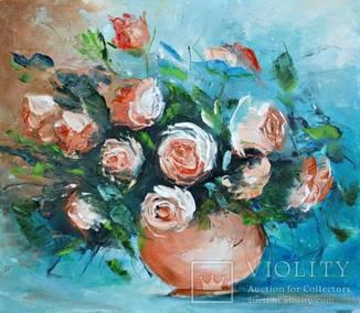 """Картина """"Натюрморт с розами"""" 40х35см.Ермолович Елена"""