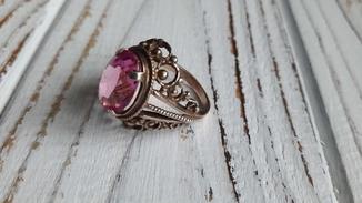 Красивий серебряный перстень 875 пробы с корундом+ Позолота