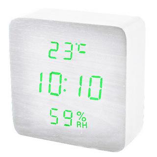 Часы сетевые 872S-4 зеленые Календарь Будильник Термометр Функция активации по звуку