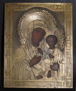 Тихвинская икона Божией Матери в бронзовом окладе