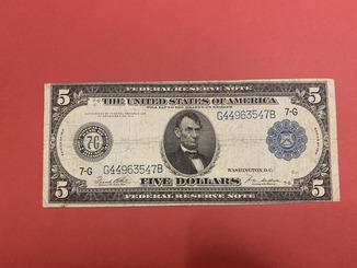 USA США 5 долларов 1914