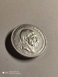 "5 корон 1907 г Австро-Венгрия. ""Коронация на Венгерский престол"" UNC"