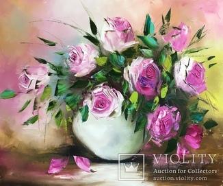 Картина «Розовое очарование» масло мастихин 50х60