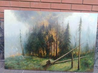 """Картина """"Лес горит"""" художник Григорий Капустин експертное заключение"""