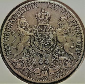 Ганновер 1 талер 1862 год серебро, тираж 133 000