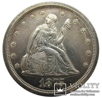 США 20 центов 1875 год UNC