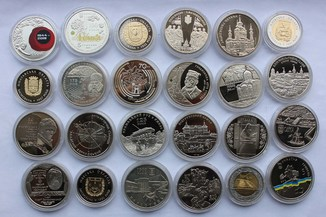 5 гривен 1995-2019 Юбилейные монеты Украины 24 штуки разные