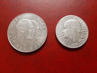 """Коллекционная монета 25 крон Норвегия 1970 год""""Освобождение"""" + 10 злотых 1932 год Польша"""
