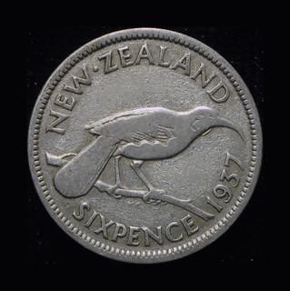 Новая Зеландия 6 пенсов 1937 серебро