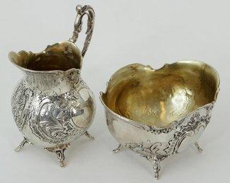 Крем - кувшин и сахарница. Серебро с позолотой