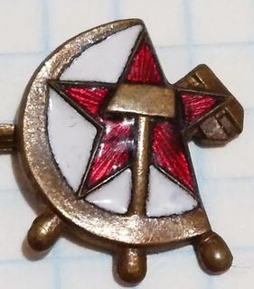 Знак морской флот, штурвал молот звезда