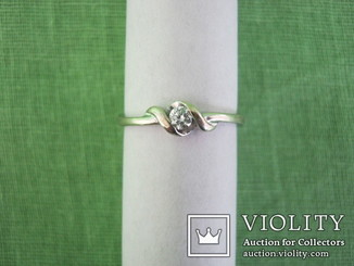Кольцо из белого золота ( 375 ) с бриллиантом 0.10 ct. Англия Бирмингем ( вес 1.7 гр )