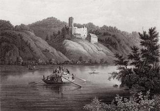 Старинная гравюра. 1850 годa. Руины Хильдгардсберг. (24,5х16,7см.).