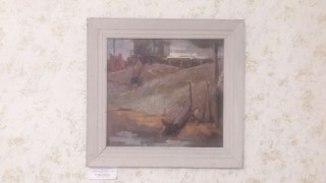 А. Пламеницкий. На стройке. 1970-е. Картон, масло 38 х 40 см
