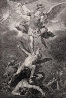 Старинная гравюра. 1854 годa. Падение ангелов. (27,3х22см.).