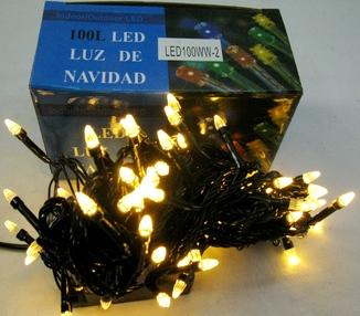 Гирлянда Новогодняя . 100 LED , тепло белый цвет , на черном кабеле .