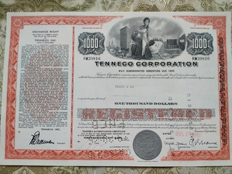 США акции, TENNECO CORPORATION 1969р
