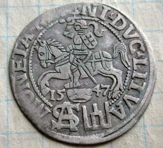 Грош Литовский 1547 года R1