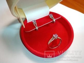 Серебрянные серьги и кольцо с аметистом и фианитами