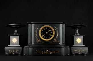 Старые каминные часы W.C.Mellink Zutphen в мраморе. 19,2 кг. Голландия (0496)