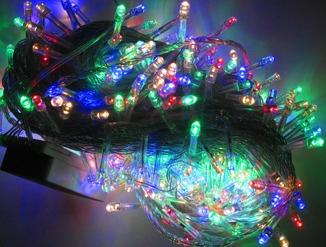 Гирлянда разноцветная 500 LED лампочек , прозрачный сетевой кабель .