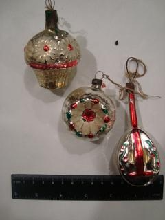 3 шт. старые стеклянные новогодние игрушки СССР