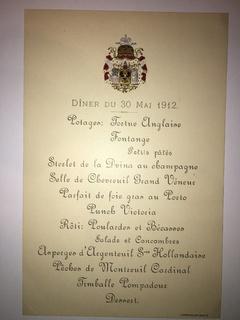 Меню, ужин 30 мая 1912, изд. Д. Семенюков