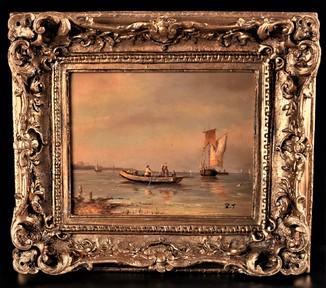 Картина, морской пейзаж, Гавань, масло, Европа