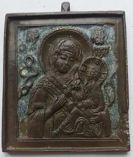 Икона Богоматерь Тихвинская.Север, Поморье. Эмаль